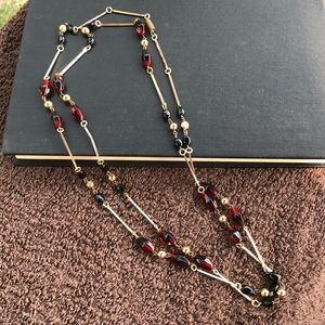 Vintage Goldtone and Glass Layering Necklace